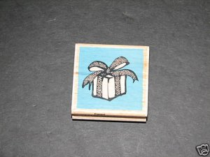 PRESENT RUBBER STAMP VAP SCRAP WRAPPED GIFT BOW