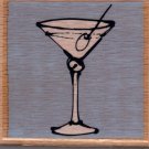 Wood Mounted Rubber Craft Stamp Martini Glass w/Olive