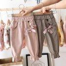Baby Girls Kids Pants Dot Polka Bow Ruffles Casual Trousers (Pink)  24 M
