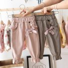 Baby Girls Kids Pants Dot Polka Bow Ruffles Casual Trousers (Brown)  24M