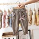 Baby Girls Kids Pants Dot Polka Bow Ruffles Casual Trousers (Brown)  3 T