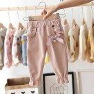 Baby Girls Kids Pants Dot Polka Bow Ruffles Casual Trousers (Pink)  3 T