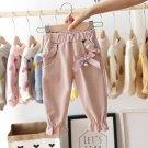 Baby Girls Kids Pants Dot Polka Bow Ruffles Casual Trousers (Pink)  12 M