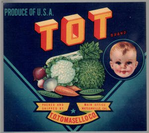 LOT of 10 all the Same Original TOT Cute Baby  Veg. Crate Labels