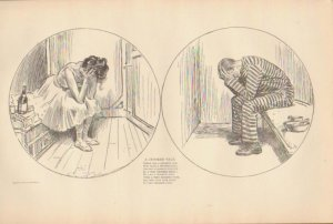 Vintage Art Print The Gibson Girl-A Crooked Tale- Circa 1907 --G-19