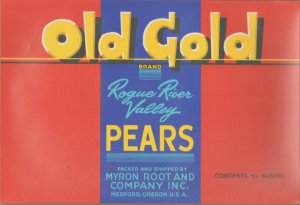 LOT of 10 Same Original Old Gold Vintage Pear Crate Label Rogue River Valley OR.