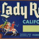 LOT of 10 all the Same Original Lady Rowena Fruit Crate Label Ivanhoe, Ca.
