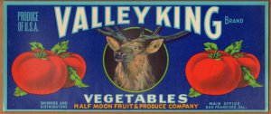 LOT of 10 all the Same Original Valley King Vegetables Crate Label S.F. CA