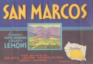 LOT of 10 Same Original San Marcos Vintage Lemon Crate Label Santa Barbara CA.