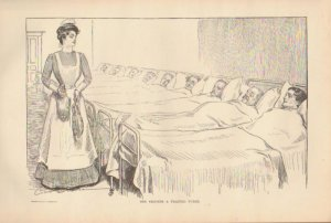 Vintage Art Print The Gibson Girl- She Becomes A Trained Nurse Circa 1907 --G-39