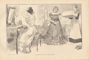 Vintage Art Print The Gibson Girl-A Message - Circa 1907 --G-11
