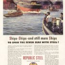 1941 Republic Steel America Building Ships Advertising Print Ad-tva1476