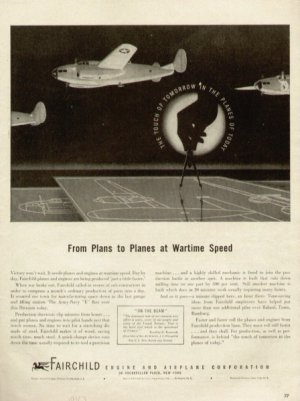 1943 Fairchild Engine Airplane Corp. Plans to Planes War Vintage Print Ad-tva238