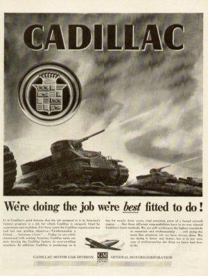 1942 Cadillac Engine WW11 Tanks Vintage Print Ad-tva570