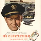 1943 Chesterfield -Navy-Submarine-Insignia Advertising Print Ad - tva1495