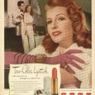 1940s Tru-Color Lipstick Max Factor- Rita Hayworth Advertising Print Ad-tva1496
