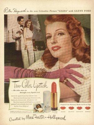 1940s Tru-Color Lipstick Max Factor- Rita Hayworth Advertising Print Ad-tva1496