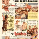 1940s Gene Autry Cowboy Horse Sparkies Cereal Advertising Print Ad tva1487