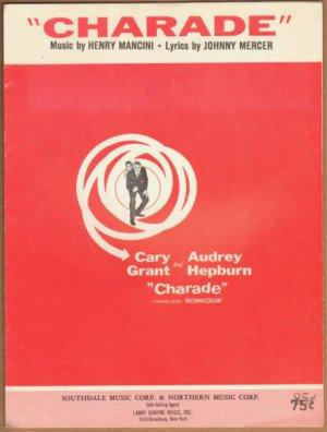 Vintage Sheet Music Charade -Cary Grant - Audrey Hepburn 1963