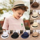 Baby Summer Cowboy Straw Hats Kids Boys Solid Caps Handsome Boy Hat