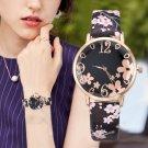 Women Fashion Embossed Flowers Small Fresh Printed Belt Student Quartz Watch