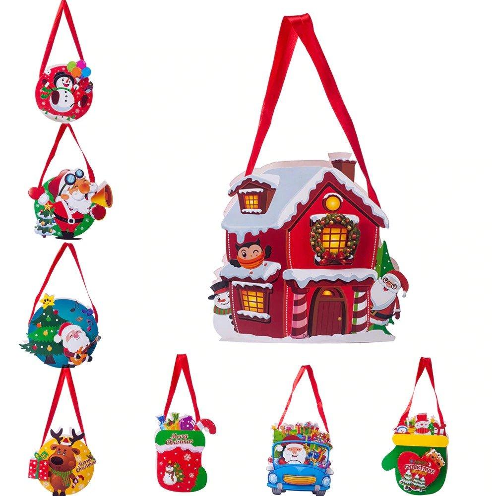Santa Xmas Christmas Gift Bag Candy Merry Christmas Pocket Home Store Gift Decor