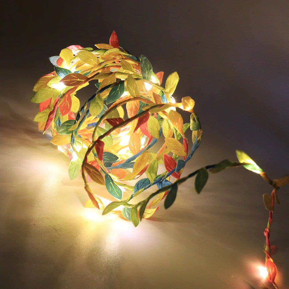 Leaf Garland String Battery Powered 10M Flexible Copper Artificial Leaves Light for Christmas