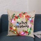 LED Christmas Pillow Case Cartoon Plants Creative Printing Luminous Cushion Cover