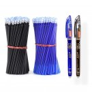 2+50Pcs/Set 0.5mm Blue Black Ink Gel Pen Erasable Refill Rod Erasable Pen