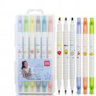 [ From XM ] Deli S606 6pcs/box Double Head Soft Color Fluorescent Pen Highlighter Pen Plastic Marker