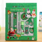 Languotu 817 9 Pcs Christmas Stationery Set Santa Pencils Ruler Eraser Solid Glue Pencil Sharpener S