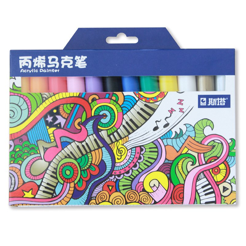 STA STA1000 Marker Pen Set 12/24 Colors/Pack Acrylic Paint Sketching Pens Stationery For DIY Manga D