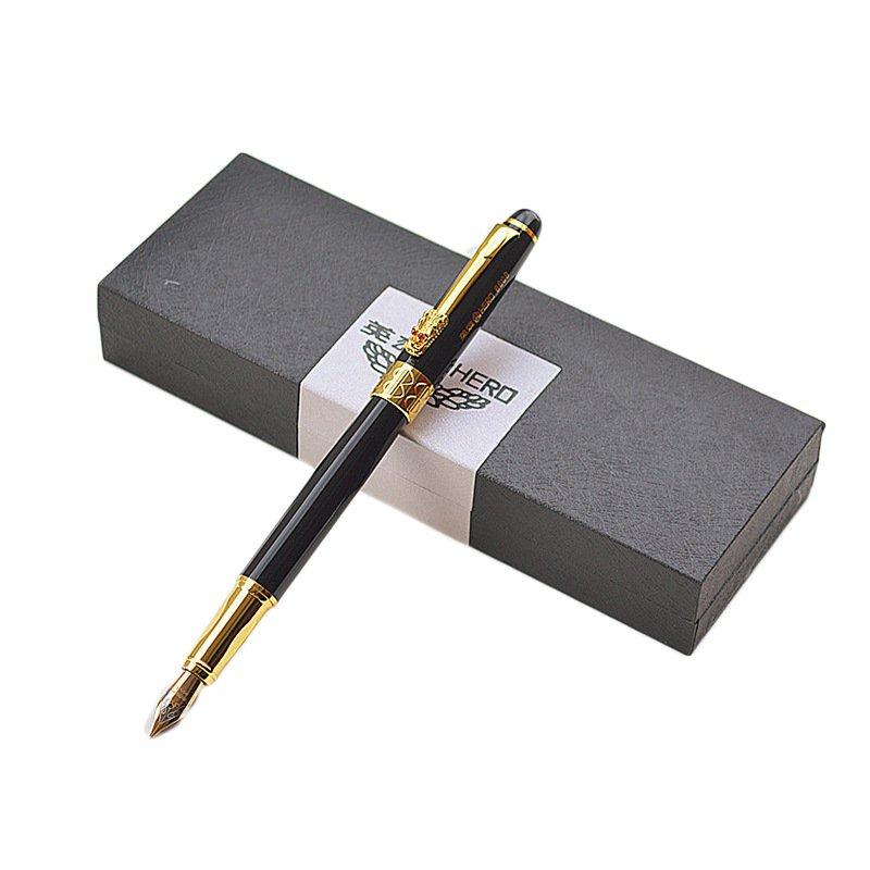 Hero 8608 Luxurious Business Fountain Pen 0.7mm Nib Full Metal Chinese Dragon Writing Pen Signing Pe