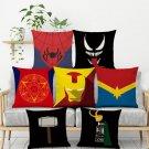 Super Hero Logo Soft Short Plush Cushion Cover Cartoon Marvel Iron Man Print Pillow Covers