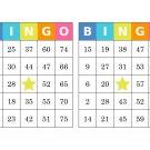 1000 bingo cards, prints 2 per page, multi-colored