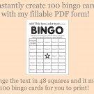 Bingo Card Generator, Word bingo fillable PDF form, makes 100 bingo cards, F2
