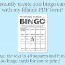 Bingo Card Generator, Word bingo fillable PDF form, makes 100 bingo cards, F3