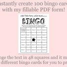 Bingo Card Generator, Word bingo fillable PDF form, makes 100 bingo cards, F4
