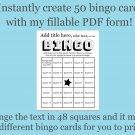 Bingo Card Generator, Word bingo fillable PDF form, makes 50 bingo cards, F1