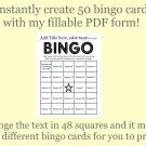 Bingo Card Generator, Word bingo fillable PDF form, makes 50 bingo cards, F2