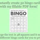 Bingo Card Generator, Word bingo fillable PDF form, makes 50 bingo cards, F3