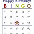 200 Birthday Bingo Cards, prints 1 per page, blue