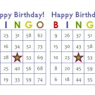 200 Birthday Bingo Cards, prints 2 per page, blue