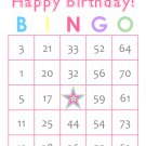 200 Birthday Bingo Cards, prints 1 per page, pink