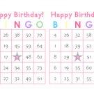 200 Birthday Bingo Cards, prints 2 per page, pink