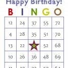 100 Birthday Bingo Cards, prints 1 per page, blue