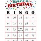 200 Birthday Bingo Cards, prints 1 per page, red, S1