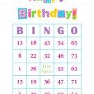 100 Birthday Bingo Cards, prints 1 per page, pink, S2