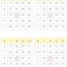 1000 bingo cards, prints 4 per page, yellow w/flower
