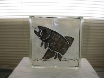 Hand Painted Fish Glass Block Night Light